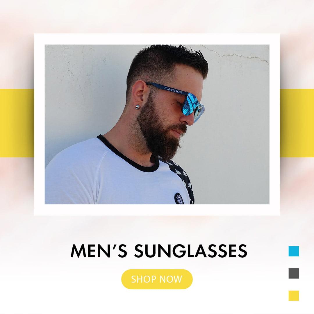 ανδρικά γυαλιά ηλίου, αντρικά γυαλιά ηλίου, ωραίος άντρας με ανδρικά γυαλιά ηλίου καθρέφτη μπλε, men's sunglasses shop now, black rose sunglasses