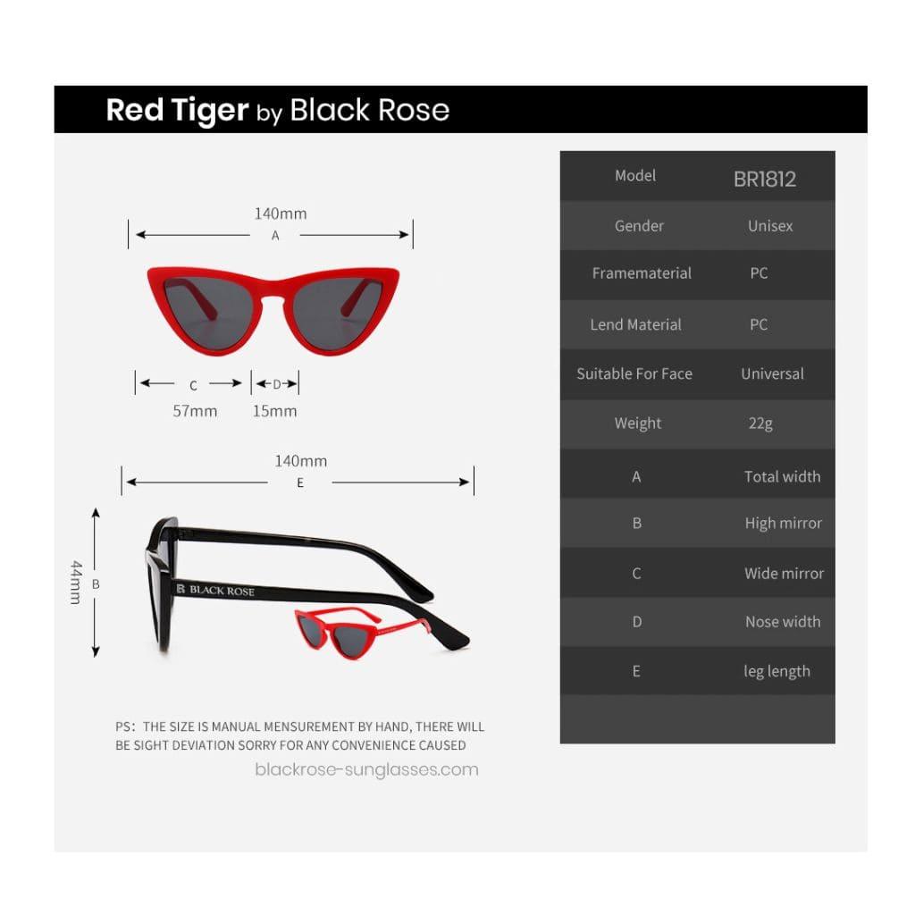 Γυναικεία γυαλιά ηλίου cat eyes, κόκκινα γυαλιά ηλίου cateyes, cat eyes sunglasses Red Tiger - Black rose sunglasses