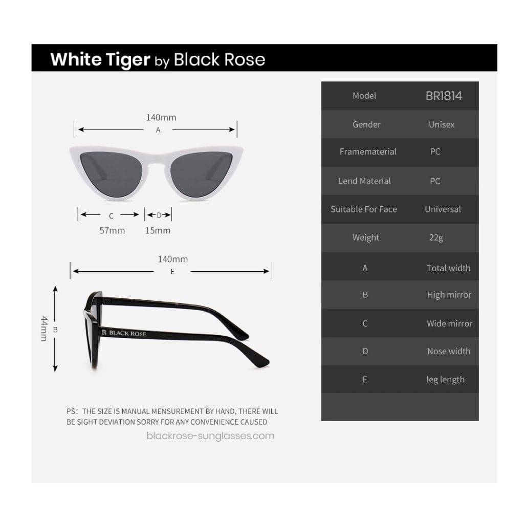 Γυναικεία γυαλιά ηλίου cat eyes, άσπρα γυαλιά ηλίου cateyes, λευκά γυαλιά ηλίου unisex, cat eyes sunglasses White Tiger - Black rose sunglasses