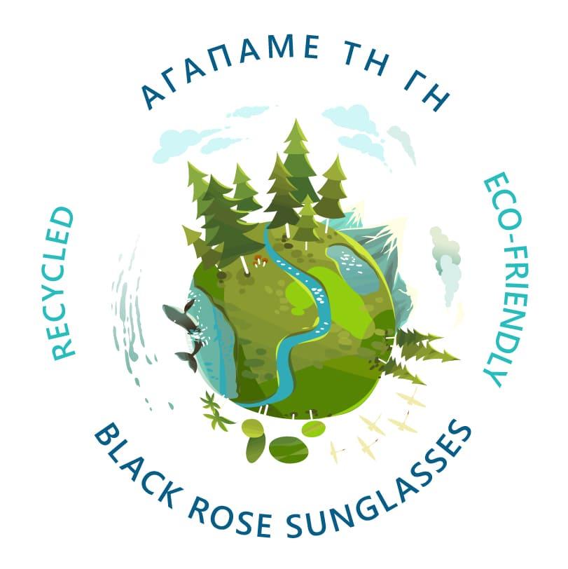 γυαλιά ηλίου από ανακυκλωμένα υλικά black rose, αγαπάμε τη γη, we love the planet, black rose recycled sunglasses greece