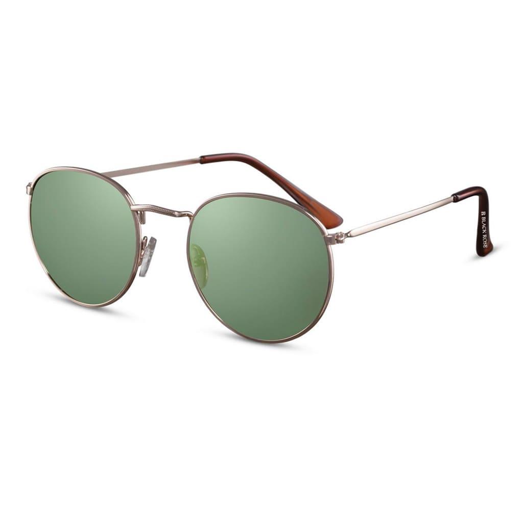 πράσινα γυαλιά ηλίου, γυαλιά ηλίου με πράσινο φακό, χρυσά μεταλλικά γυαλιά ηλίου ημι-στρογγυλά, unisex green yolo-black rose