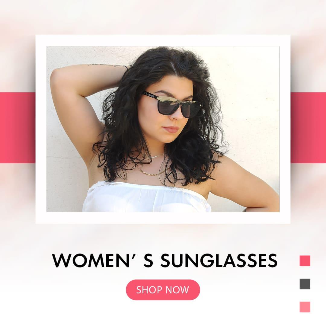 γυναικεία γυαλιά ηλίου, banner με γυναίκα με μαύρα γυναικεία γυαλιά ηλίου, button shop now, γυναικεία γυαλιά ηλίου black rose sunglasses