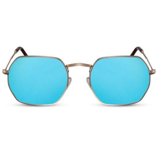 γυαλιά ηλίου μπλε καθρέφτης, γυαλιά ηλίου πολυγωνικά, τετράγωνα, γυναικεία-ανδρικά μεταλλικά γυαλιά ηλίου με χρυσό σκελετό, blue mirror sunglasses, blue shadow - black rose
