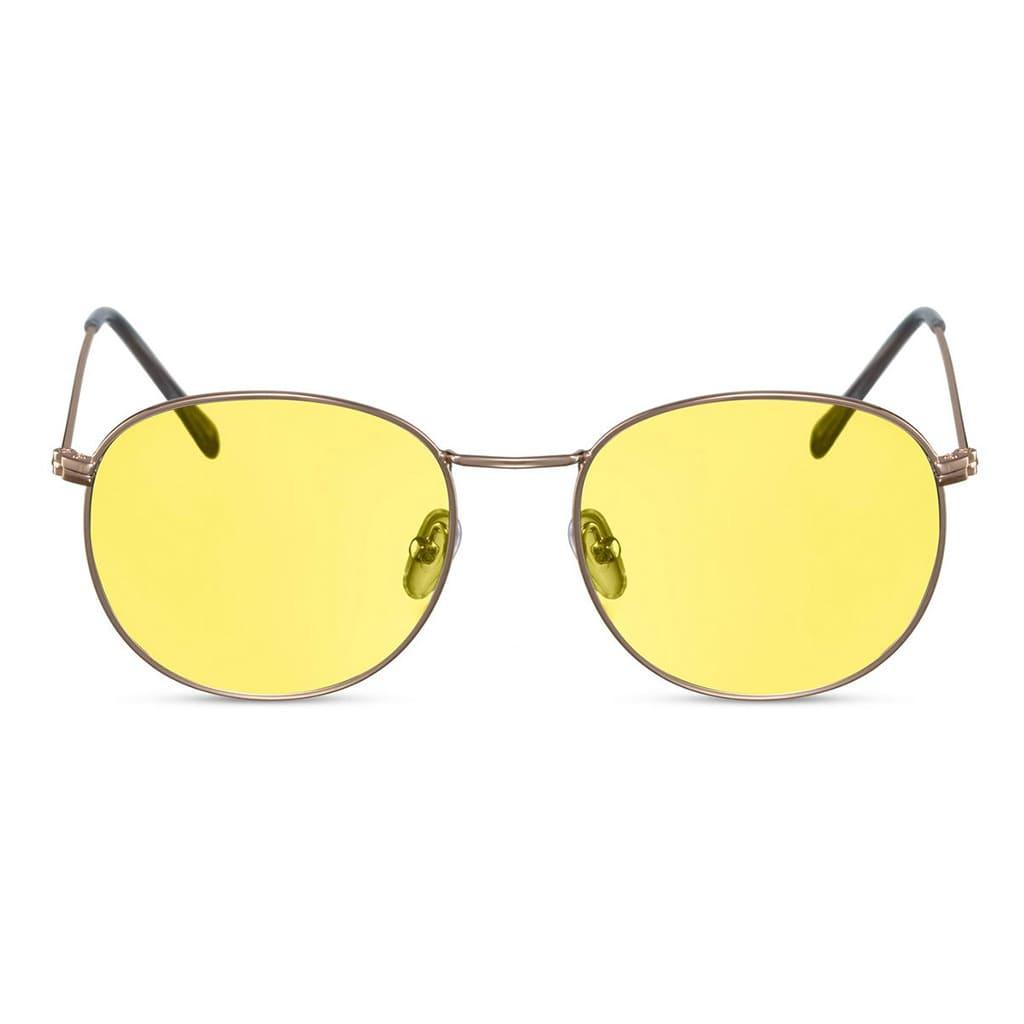 γυαλιά ηλίου κίτρινα παστέλ, γυαλιά ηλίου πόλης με διάφανους κίτρινους φακούς, χρυσά μεταλλικά γυαλιά ηλίου κίτρινα, paris-black rose