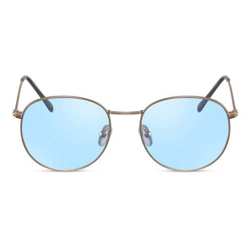 παστέλ γυαλιά ηλίου μπλε, γυαλιά ηλίου πόλης με μπλε φακούς, χρυσά μεταλλικά γυαλιά ηλίου με διάφανους γαλάζιους φακούς, athens-black rose