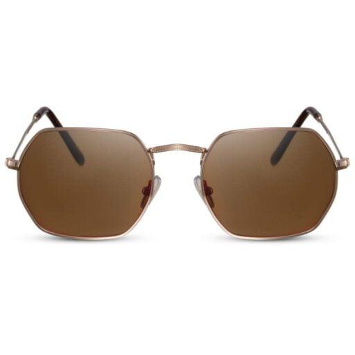 πολυγωνικά γυαλιά ηλίου, χρυσό σκελετό-καφέ φακό, γεωμετρικά γυαλιά ηλίου, καφέ γυαλιά γυναικεία-ανδρικά brown shadow-black rose