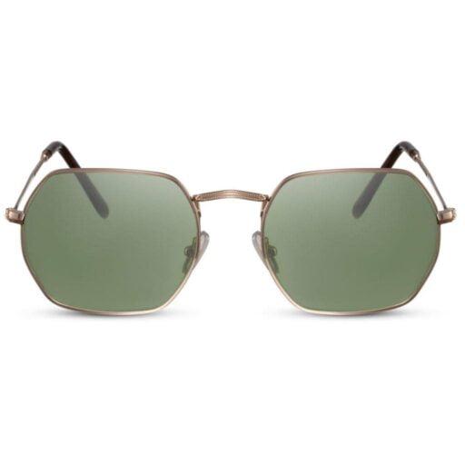 γεωμετρικά γυαλιά ηλίου, χρυσό μεταλλικό σκελετό-πράσινο φακό, πολυγωνικά ανδρικά-γυναικεία γυαλιά ηλίου green shadow-blackrose