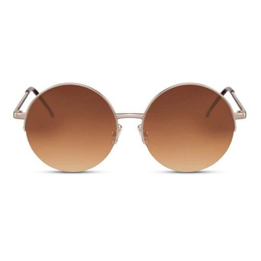 χρυσά γυαλιά ηλίου,στρογγυλά γυαλιά ηλίου μεγάλα, καφέ φακό-χρυσό σκελετό, γυναικεία γυαλιά ηλίου-unisex, gold moon-blackrose