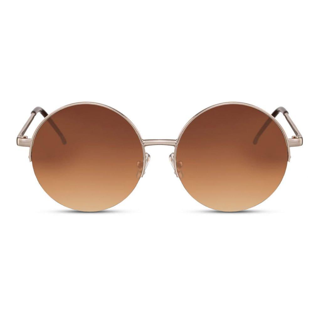 73e086394a0 Γυαλιά ηλίου στρογγυλά, χρυσά μεταλλικά γυαλιά με καφέ φακό GOLD MOON