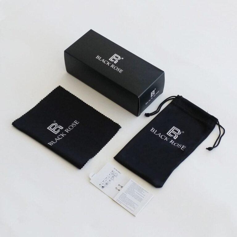 συσκευασία γυαλιών ηλίου black rose sunglasses με μαλακή θήκη, μαύρο κουτί γυαλιών, πανάκι microfiber, πιστοποιητικό ISO